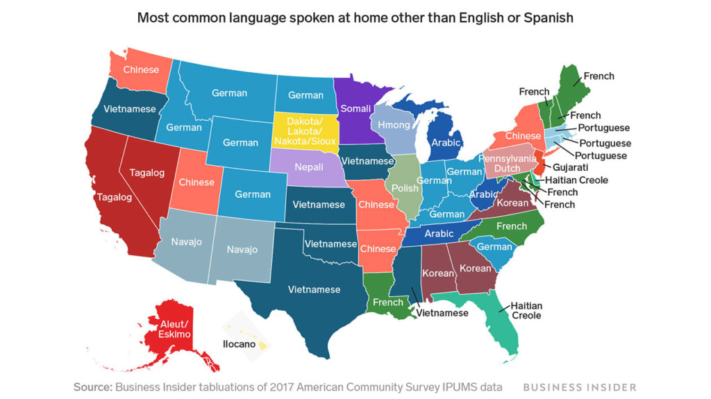 Each state\'s most common language besides English and ...