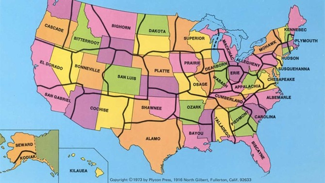 A geography professor redrew the U.S. map with only 38 states